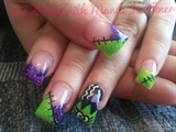 Bride of Frankenstein Glitter Nails