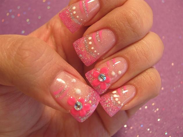 Hot Pink 3d Design Nail Art Gallery