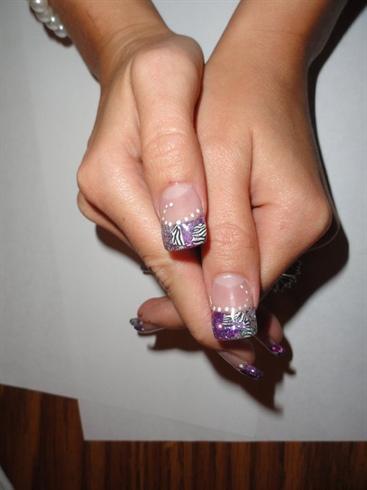 Purple Amp Silver Zebra Nails