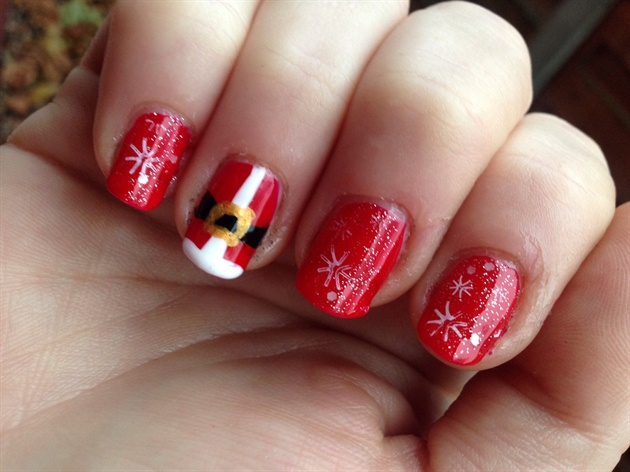 Santa suits and snowflakes