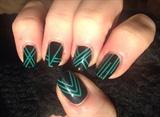 Green & black striping tape mani