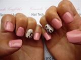 Acrylics Pink glitter + nail art
