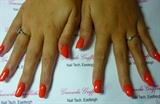 full set acrylics, Tropical orange nail