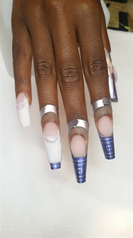 Then I applied my white and I go back to check my c-curve after every nail I finished.