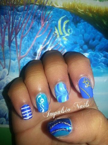 1 main  5 nails  blue  nail art gallery
