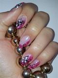 Hand painted pink nail art