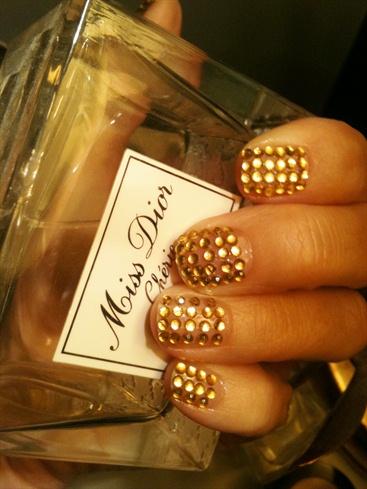 Gold Crystal Nail Art