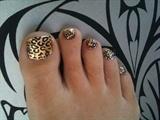 Gold Leaf & Leopard Print Nail Art
