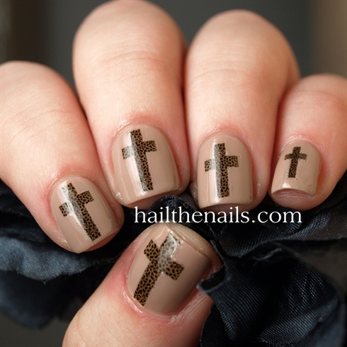 Leopard Print Cross Decals - Leopard Print Cross Decals - Nail Art Gallery