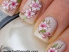 Pink & white lily's water nail transfers