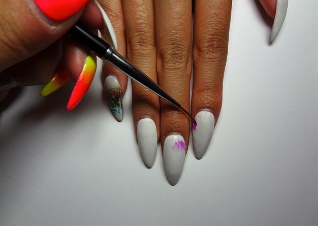 Use Neon Purple gel polish/gel colour on white base, paint strokes with thin striper/detail brush to create Aurora Borealis