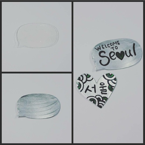 For the speech bubble (Koreans love those) and the heart, I used 2 layers of gel top coat, curing between each layer, and then using small scissors I cut out the shapes. I then painted them silver and added inscriptions with black acrylic paint. The heart says Seoul in Korean.