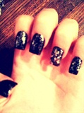 black glitter nails!