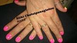 elegant neon pink manicure