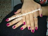 dark magenta manicure