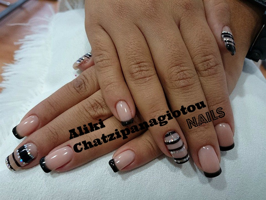 nude and black french - Nail Art Gallery