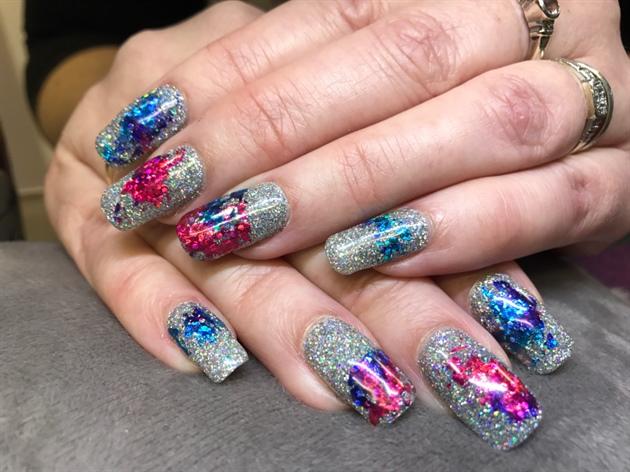 Sparkle With Foil Gel Polish Nails