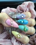 Pastel Negative Space Stiletto Nails