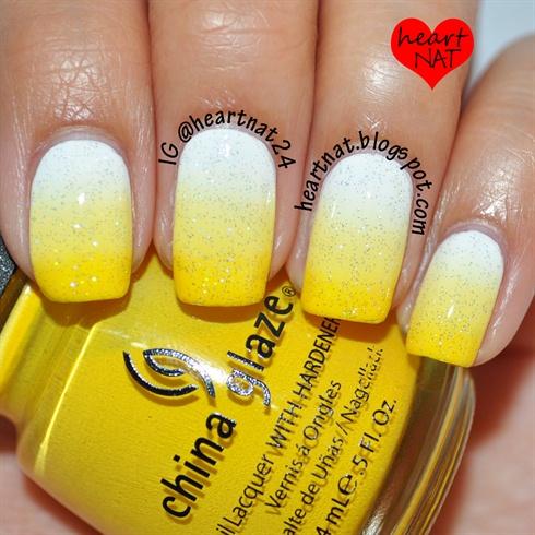 White To Yellow Gradient Nail Art Gallery