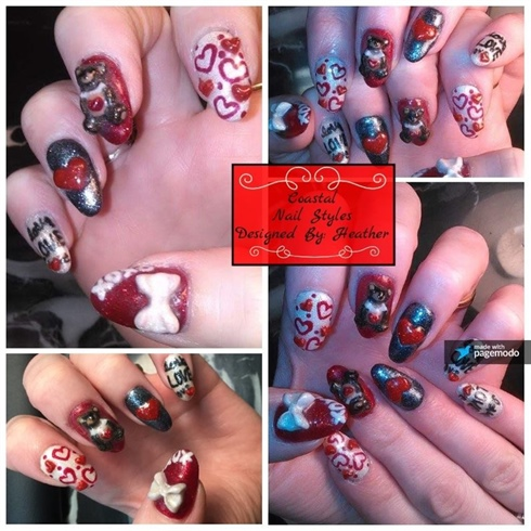 3-D Valentines Nails