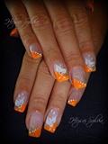 orange with flowers