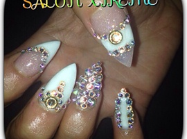 Fun with white nails !!