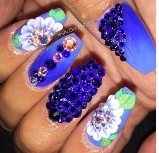 All acrylic nails blue nails!