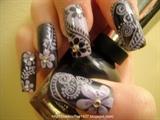 Purple Flora nail art