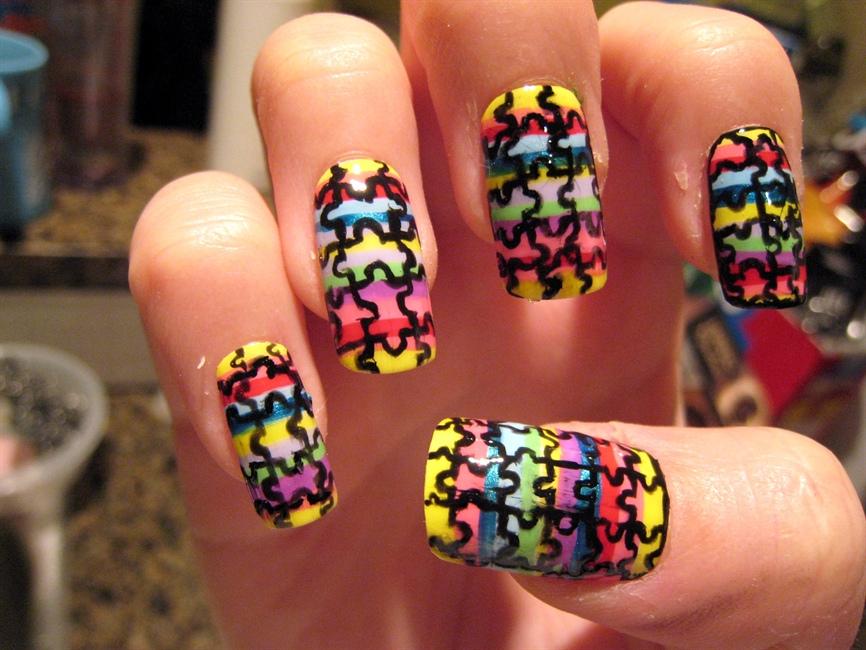 Puzzle nail art - Nail Art Gallery