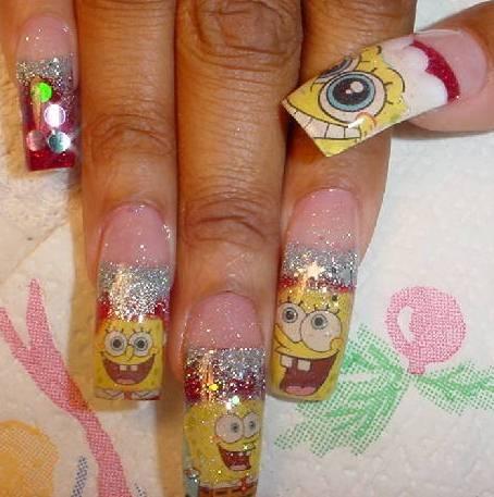 Sponge Bob christmas nails