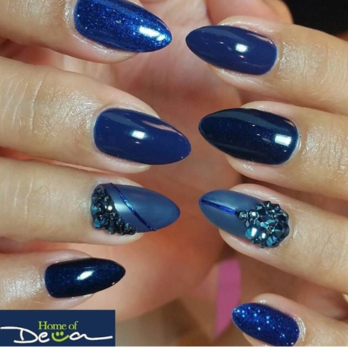 Blue Bling Nails