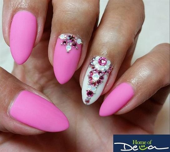 Matte Pink Bling Nails