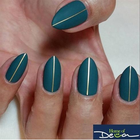 Matte Greenish Blue Nails