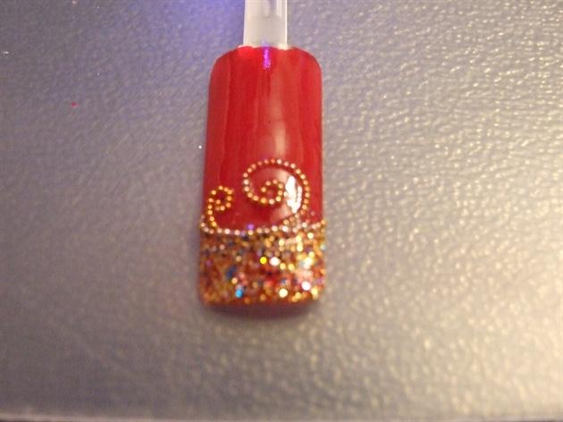 Mini beads wave nail art design