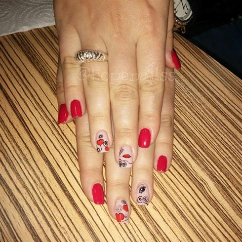 Gelish Valentine's Day nail art