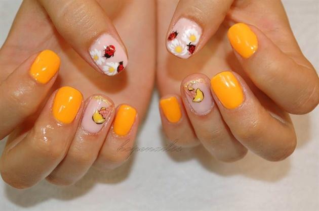 Ladybug & Ice Cream nail art