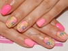 Neon flowers nail art