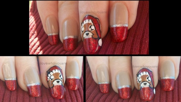 Peeking Teddy Christmas Nails ʕ•ᴥ•ʔ