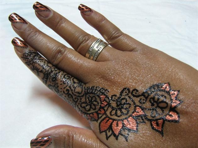 Henna Mehndi Nail Art : Henna mehendi design nail art gallery