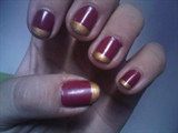 burgundy gold french manicure
