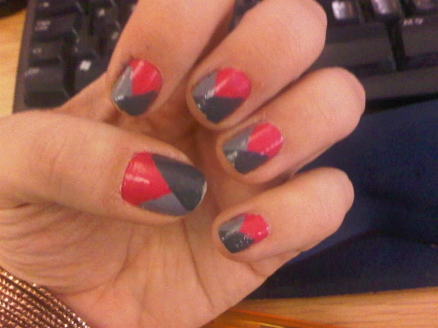 Pink and grey contrast - Tricolour - Nail Art Gallery