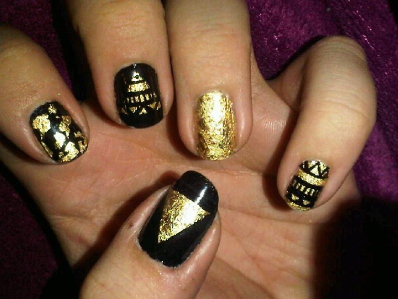 Gold Leaf Tribal Nail Art Nail Art Gallery