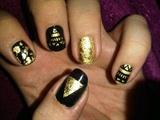 Gold Leaf/Tribal Nail Art