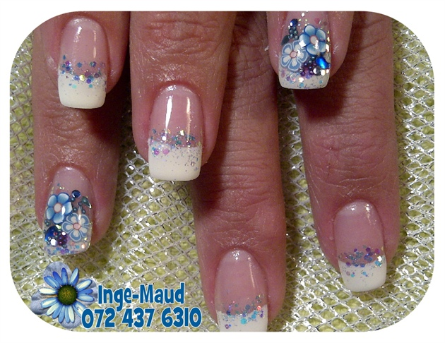 french with blue flowers