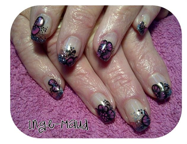 black & pink floral