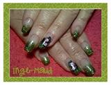 green glitter & butterfly
