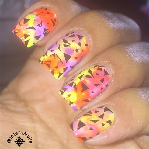 Neon Nails With Stamping On Top