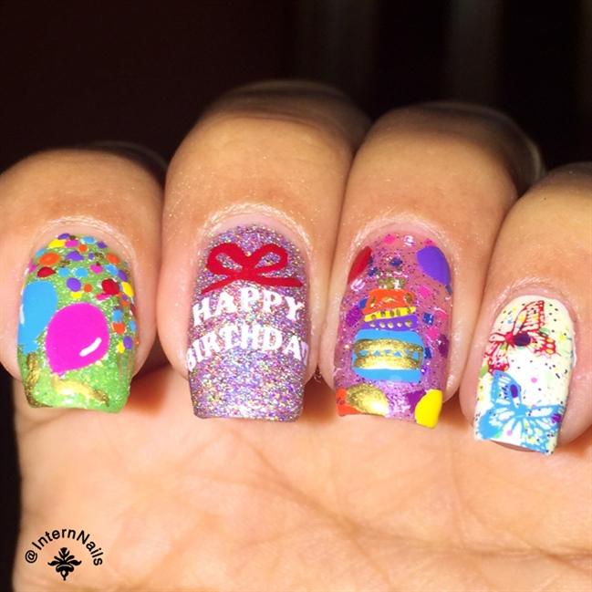Happy Birthday Nails - Nail Art Gallery