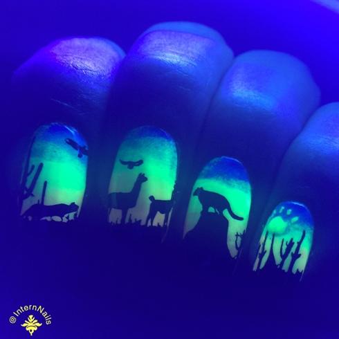 Neon Tribal Design In Black Light