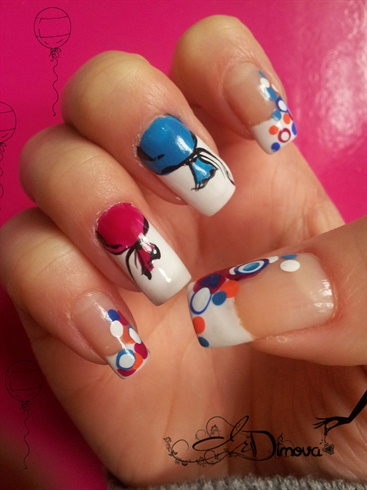 French nails with ballon